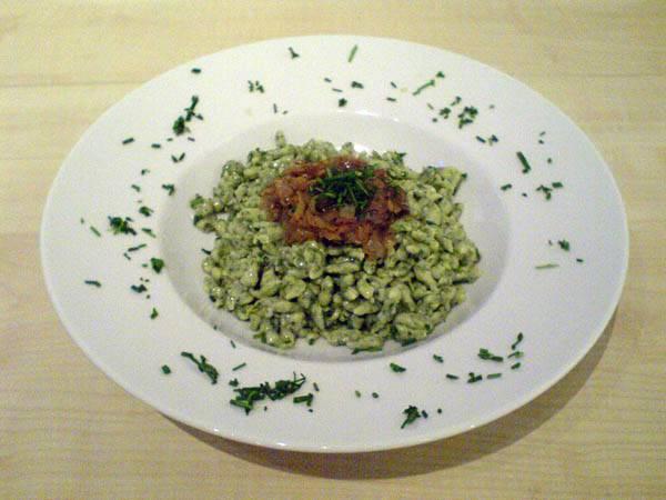 Vegetarisch lecker – Spinatspätzle mit Röstzwiebeln