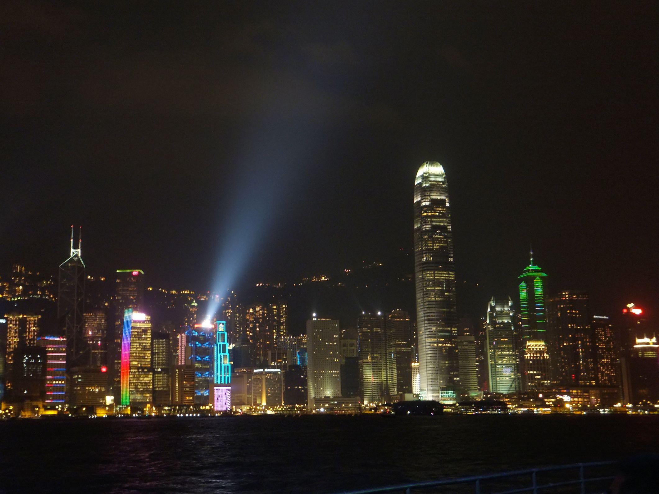Die tägliche Lasershow in Hong Kong