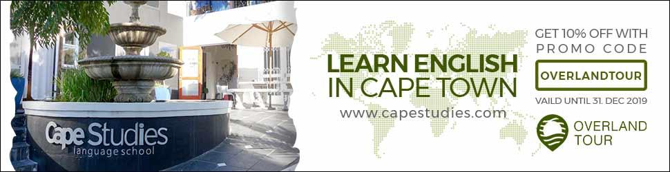 """Bekomme 10% Rabatt mit dem Promo Code """"overlandtour"""" für deinen nächsten Aufenthalt bei Cape Studies"""