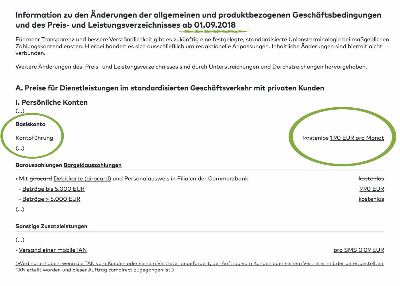 comdirekt Bank - Kontoführungsgebühren ab dem 01.09.2018