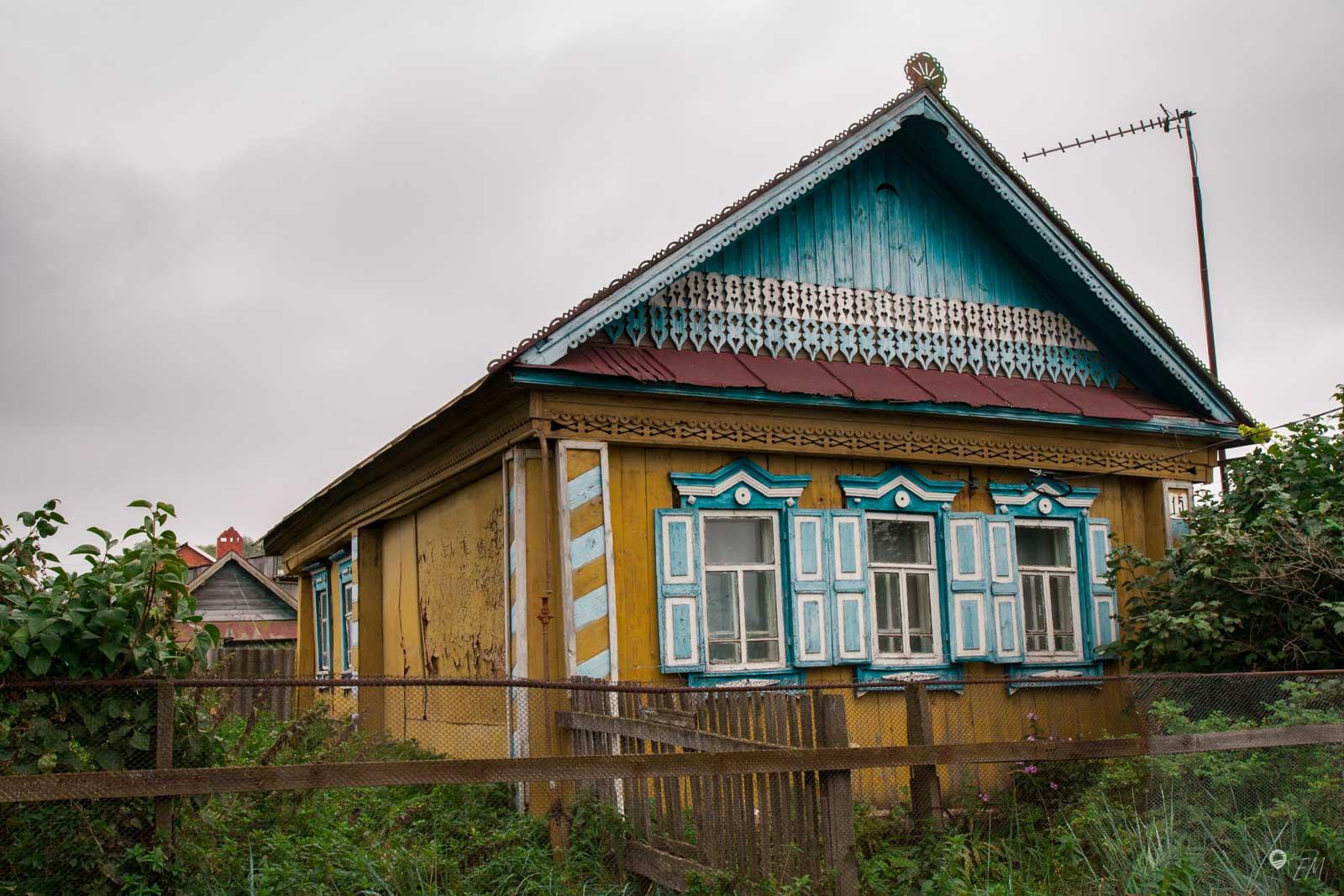 Die traditionellen bunten Holzhäuser von Tatarstan