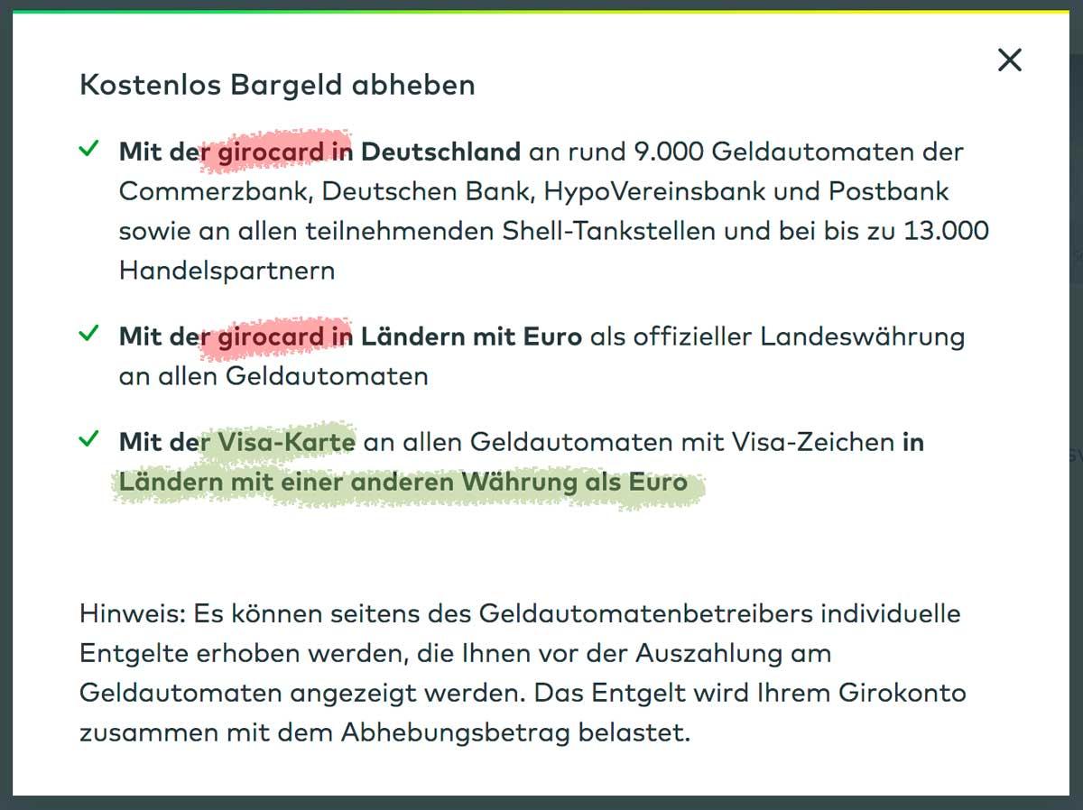 Kostenübersicht der comdirect Bank für die girocard