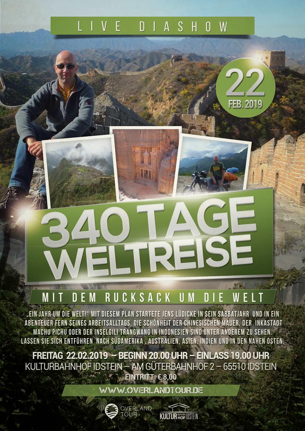 340 Weltreise - Mit dem Rucksack um die Welt - LIVE DIASHOW