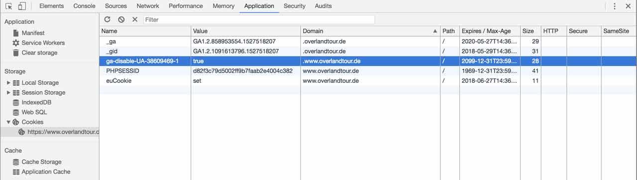 """Wenn du das anonymisierte Tracking von Google Analytics abschalten möchtest, dann wir ein weiteres Cookie bei dir mit dem Namen """"ga-disable-UA-38609469-1"""" gesetzte und das anonymisierte Tracking von Google Analytics abgeschaltet!"""