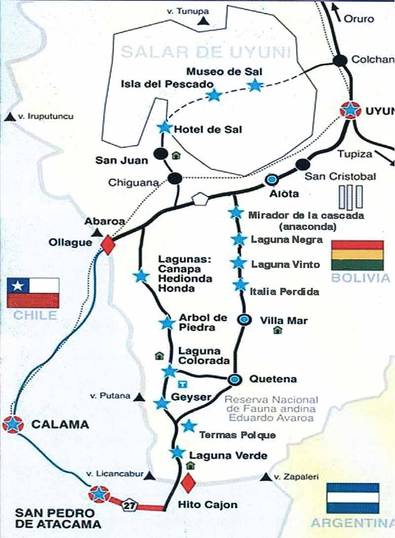 Die zwei unterschiedlichen Routen zum Salar de Uyuni