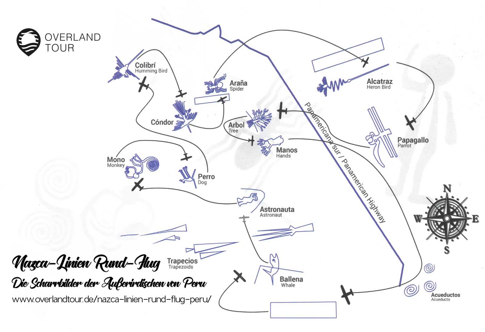 Nazca-Rund-Flug-Route