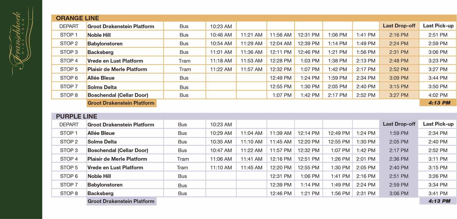 Timetable für CitySightseeing Besucher der Franschhoek Wine Tram