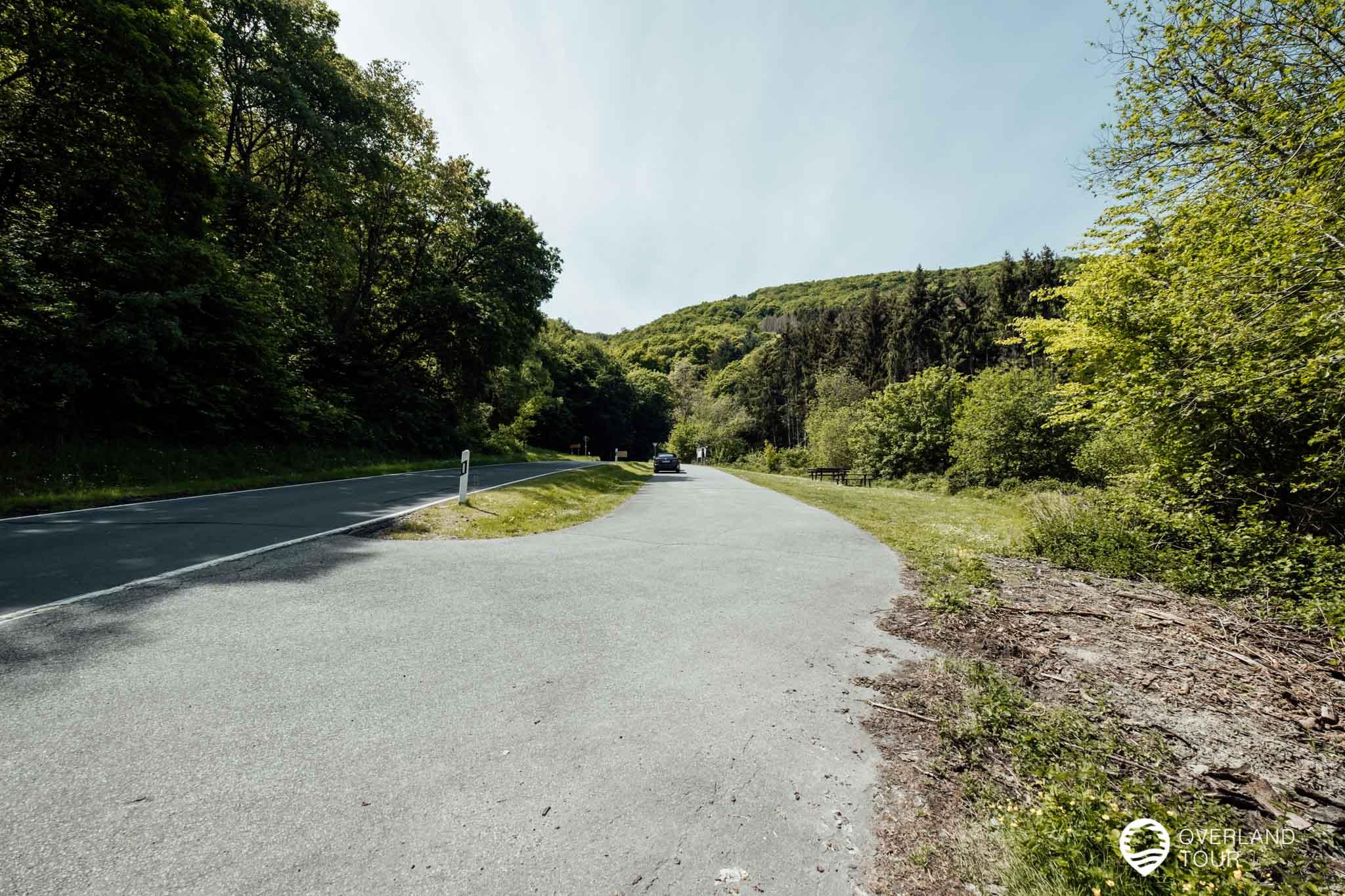 Der Wanderparkplatz Patelsbach ist der offizielle Start- und Zielpunkt der Traumschleife Rheingold